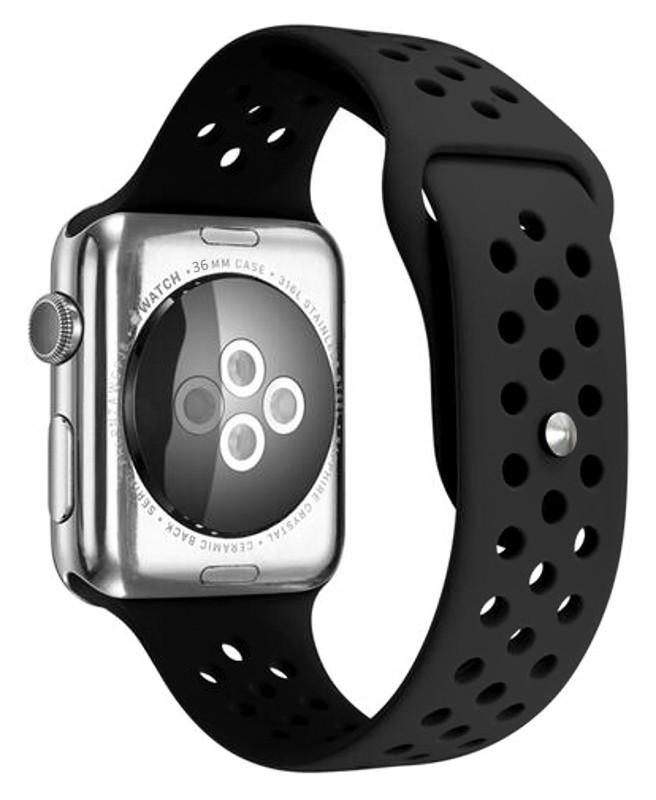 Ремінець для Apple iWatch 38mm Nike brand з перфорацією Чорний