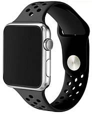 Ремінець для Apple iWatch 38mm Nike brand з перфорацією Чорний, фото 2