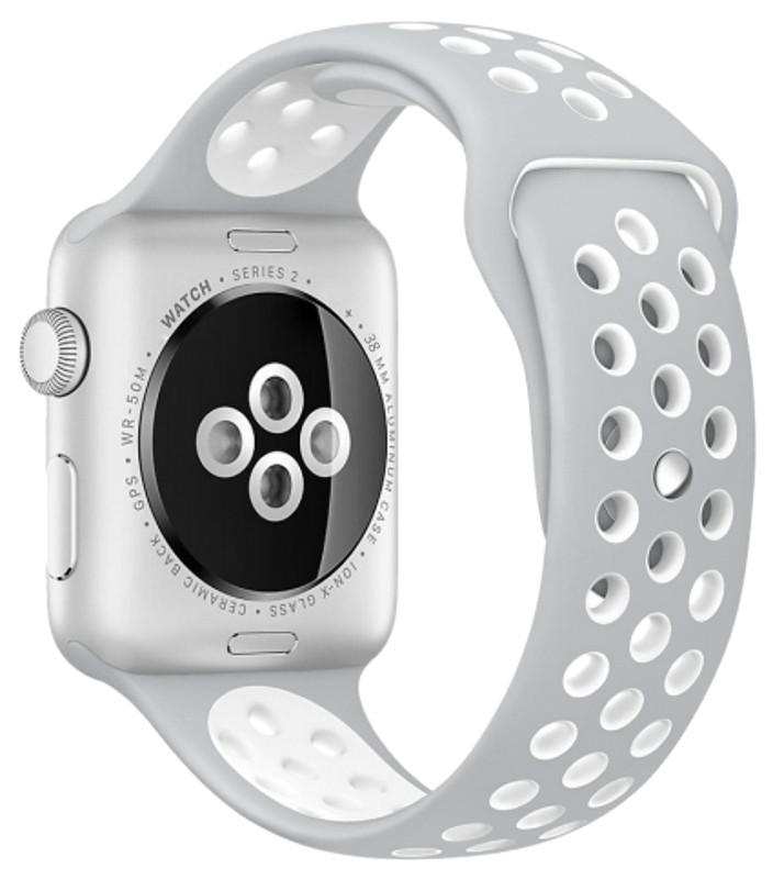 Ремінець для Apple iWatch 38mm Nike brand з перфорацією Сірий/білий
