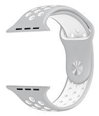 Ремінець для Apple iWatch 38mm Nike brand з перфорацією Сірий/білий, фото 2