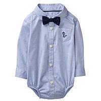 Детская нарядная боди-рубашка для мальчика 0-3 месяца