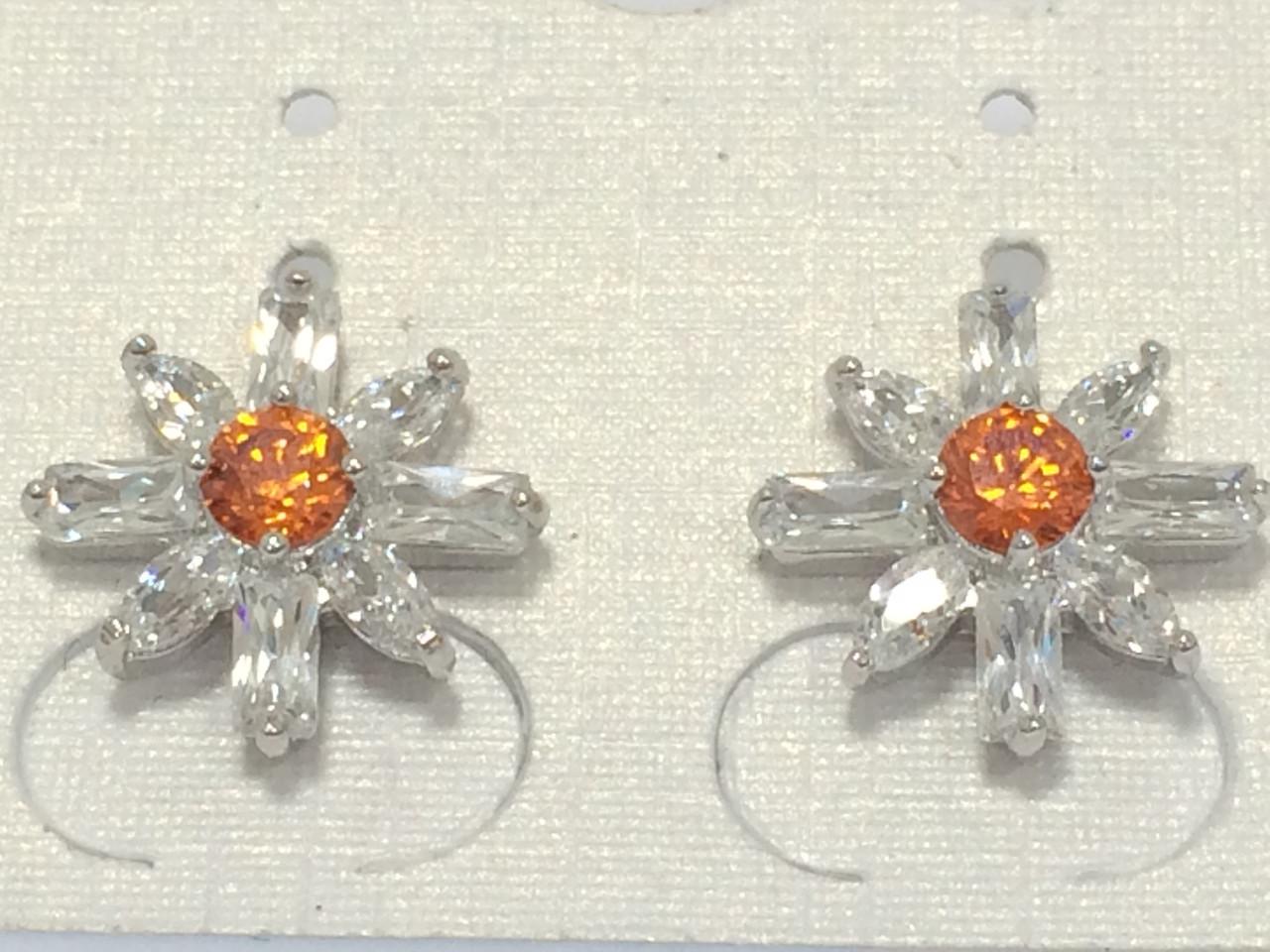 Сережки цвяшки, Сніжинка з помаранчевім цирконієм, родій