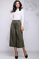 Модні штани кюлоти розширені до низу з гудзиками 44-50 розміри коричневі, фото 1
