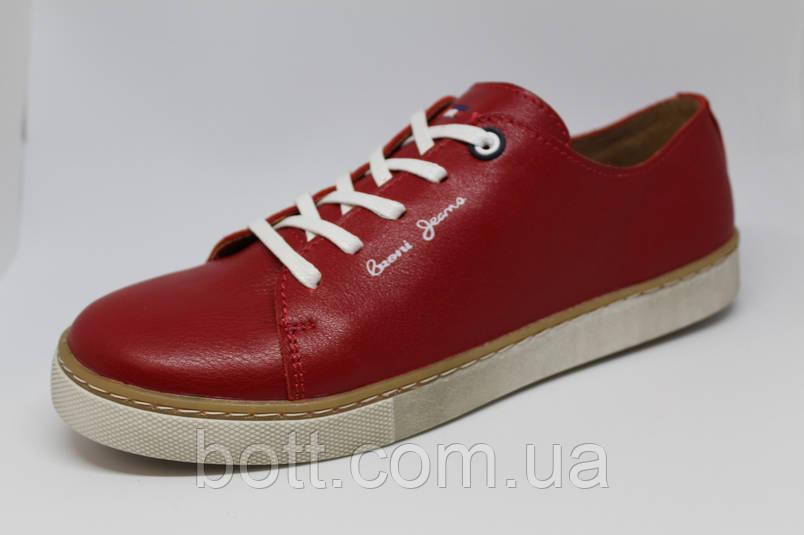 Кеды красные кожаные унисекс, фото 2
