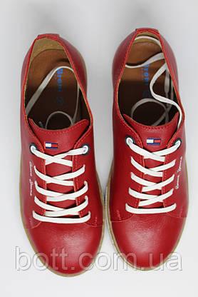 Кеды красные кожаные унисекс, фото 3