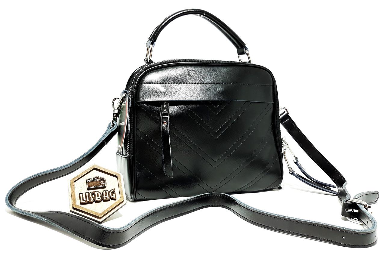3247ea9b96e6 Кожаная Черная классическая сумка Galanty красивая на каждый день модель  2018 года