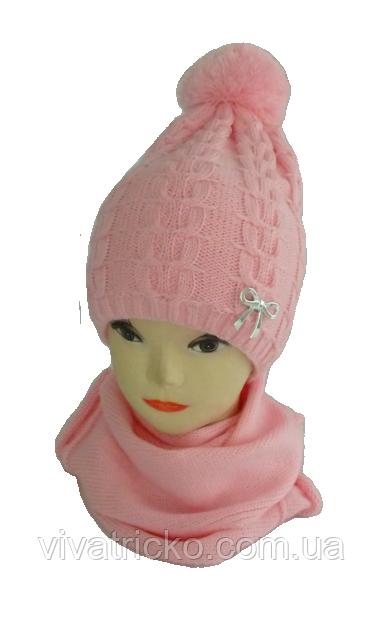 Комплект для девочки шапка на флисе и шарф р 3-12 лет