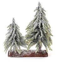 Елки декоративные заснеженная на подставке из дерева, набор 4 шт