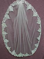 Свадебная фата белая с гипюром и паетками 1 ярус