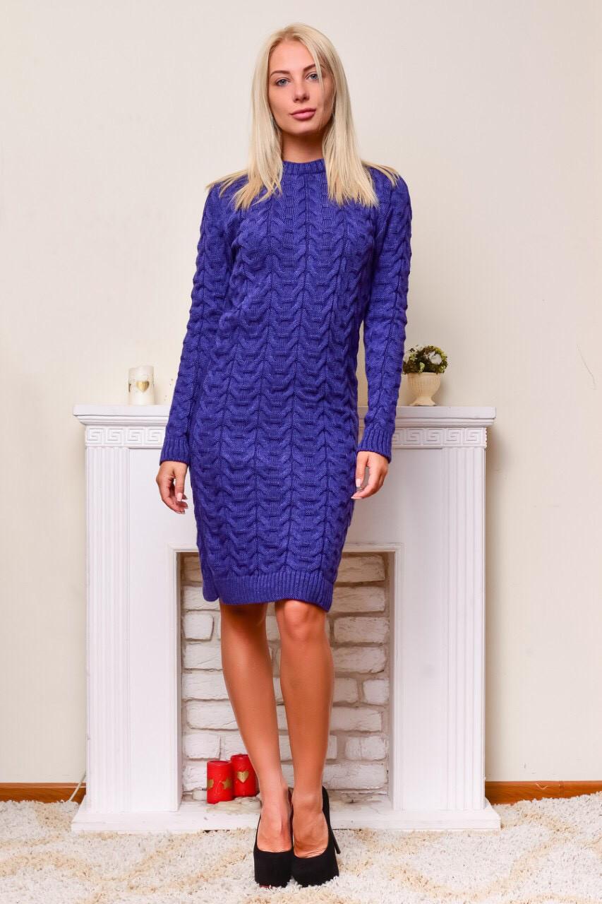 Теплое вязаное платье электрик
