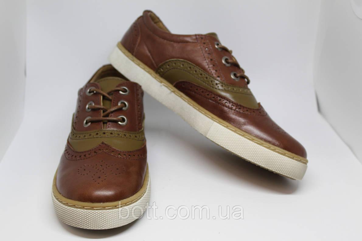 Кеды кожаные коричневые, фото 2