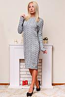Теплое вязаное платье серый