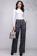 Модні жіночі вільні брюки кльош в клітку 42-48 розміри чорно-сіра, фото 1