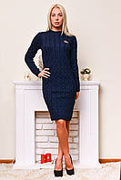 Теплое вязаное платье темно-синий