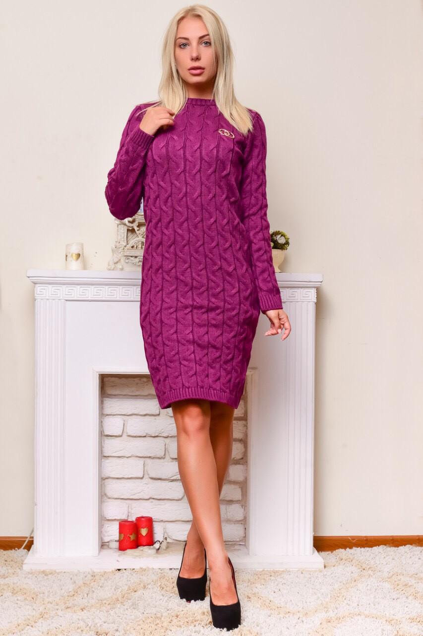 Теплое вязаное платье фуксия