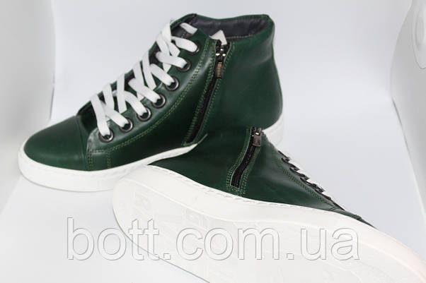 Кеды кожаные высокие зеленые конверсы, фото 2