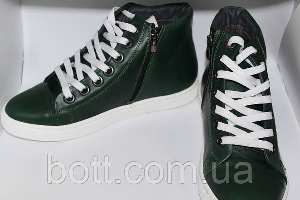 Кеды кожаные высокие зеленые конверсы, фото 3
