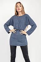 Удлиненный женский джемпер-туника цвета джинс