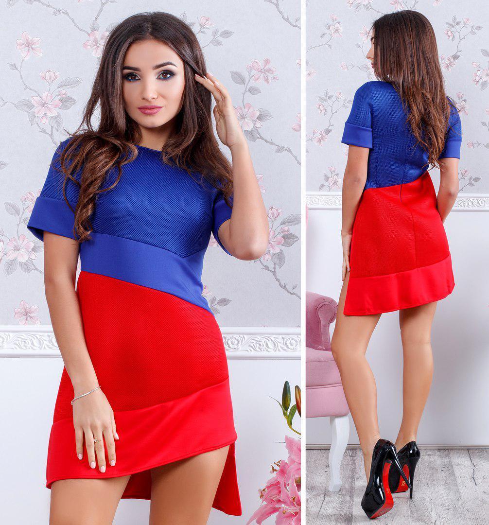 """Облегающее асимметричное мини-платье """"DUO"""" с коротким рукавом (2 цвета)"""