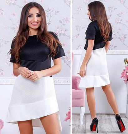 """Облегающее асимметричное мини-платье """"DUO"""" с коротким рукавом (2 цвета), фото 2"""