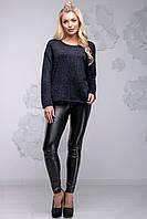 Теплий модний жіночий светр з ангори вільного фасону 42-48 розміру темно-синій, фото 1