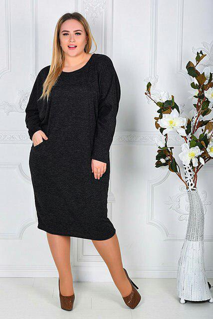 Теплое платье с карманами больших размеров