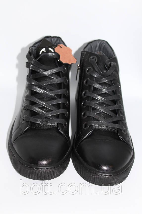 Кеды кожаные высокие черные конверсы, фото 2