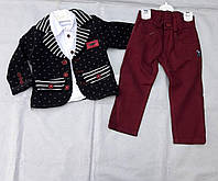 Нарядный  костюм-тройка для мальчика с пиджаком, утепленным тонким синтепоном Турция , фото 1