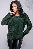 Теплий модний жіночий светр з ангори вільного фасону 42-52 розміру темно-зелений, фото 1