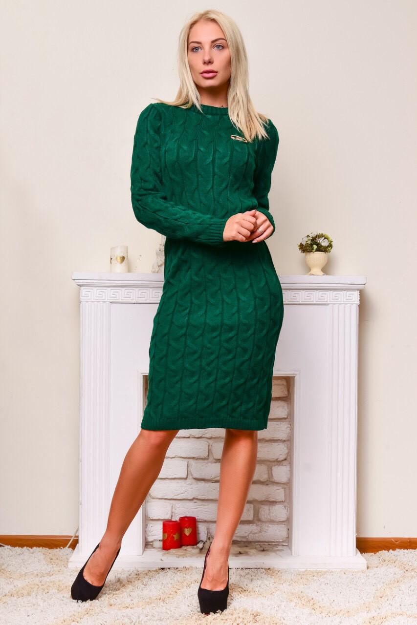 Теплое вязаное платье изумрудный
