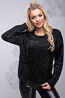 Теплый модный женский свитер из ангоры свободного фасона 42-52 размера черный, фото 1