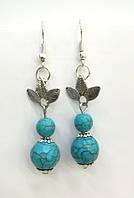 Серьги из натурального камня Бирюза, цвет оттенки голубого \ S - 0258