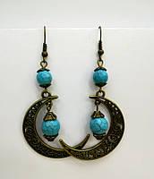 Серьги из натурального камня Бирюза, бронза,  цвет оттенки голубого \ S - 0259