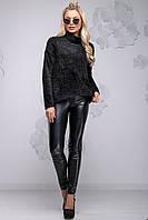 Теплый женский свитер из ангоры с высоким воротником свободного фасона 42-54 размера черный, фото 1