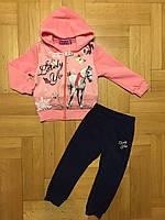Трикотажный костюм-двойка с начесом для девочек оптом, Active Sport, 6-36 мес.,арт.SJ-9107, фото 2