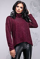 Теплый женский свитер из ангоры с высоким воротником свободного фасона 42-48 размера марсала, фото 1