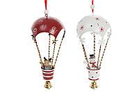 Новогоднее украшение-подвеска Воздушный шар 30см, цвет - красный с белым, 2 вида, набор 12 шт