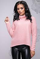 Теплый женский свитер из ангоры с высоким воротником свободного фасона 42-48 размера персиковый, фото 1
