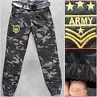 Штани для хлопчика на 8-12 років захисного кольору з поясом на резинці оптом