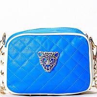 Женская сумка - клатч голубой с белым