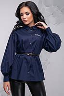 Красива блузка з баскою і широким рукавом 42-48 розміру темно-синя, фото 1