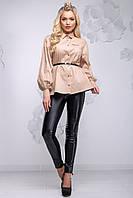 Красивая блузка с баской и широким рукавом 42-48 размера светло-кофейная, фото 1