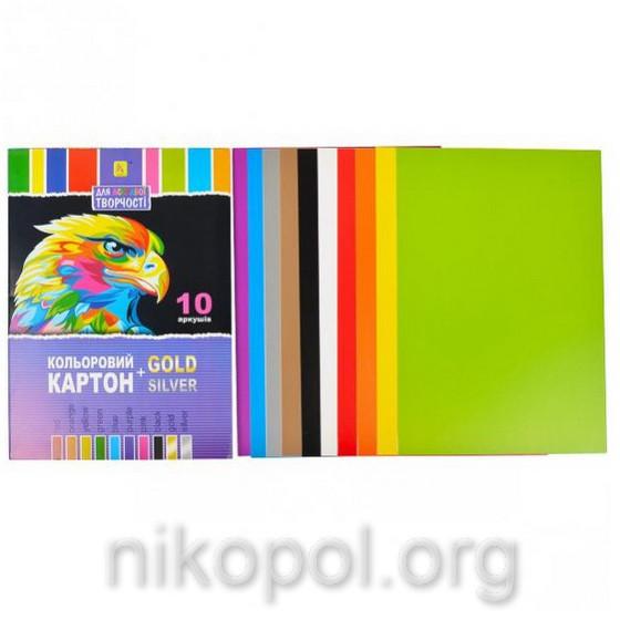 """Цветной картон для аппликаций 10 листов А4 """"Коленкор"""" №2"""