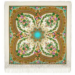 Слова любви 1688-2, павлопосадский платок шерстяной  с шелковой бахромой