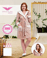 Бежевый халат Bellezza бамбуковый с капюшоном № 2002