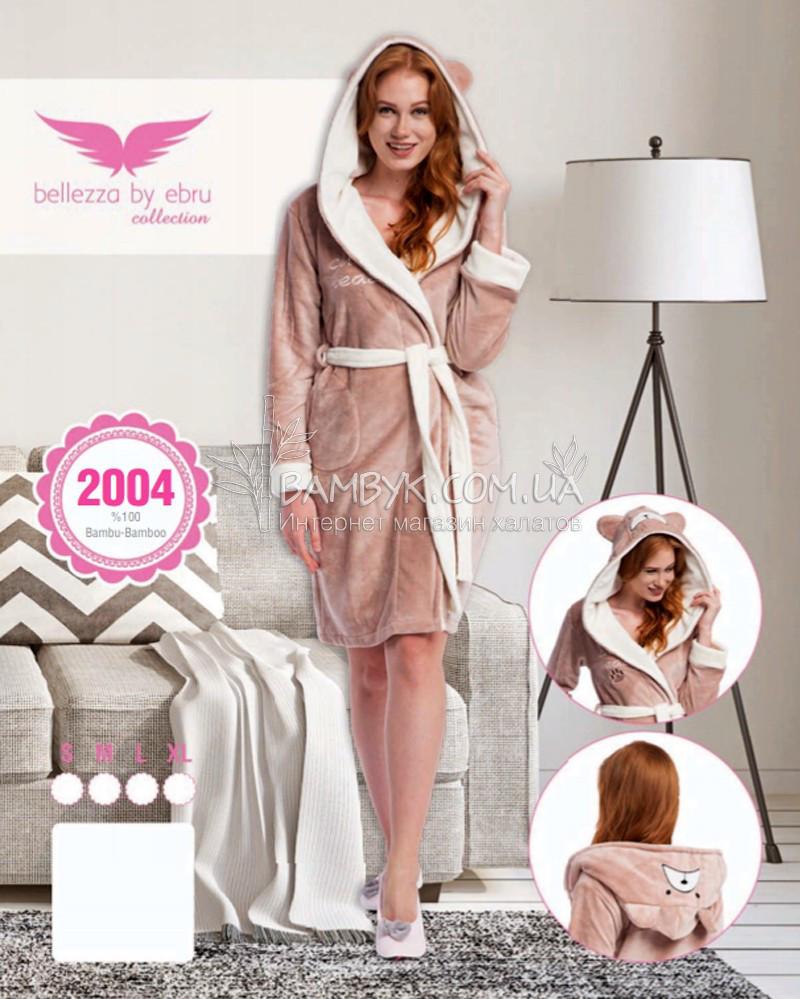 Бежевий халат з вушками Bellezza бамбуковий № 2004