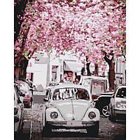 """Картина по номерам 50х40 """"Городской пейзаж Volkswagen Beetle"""""""