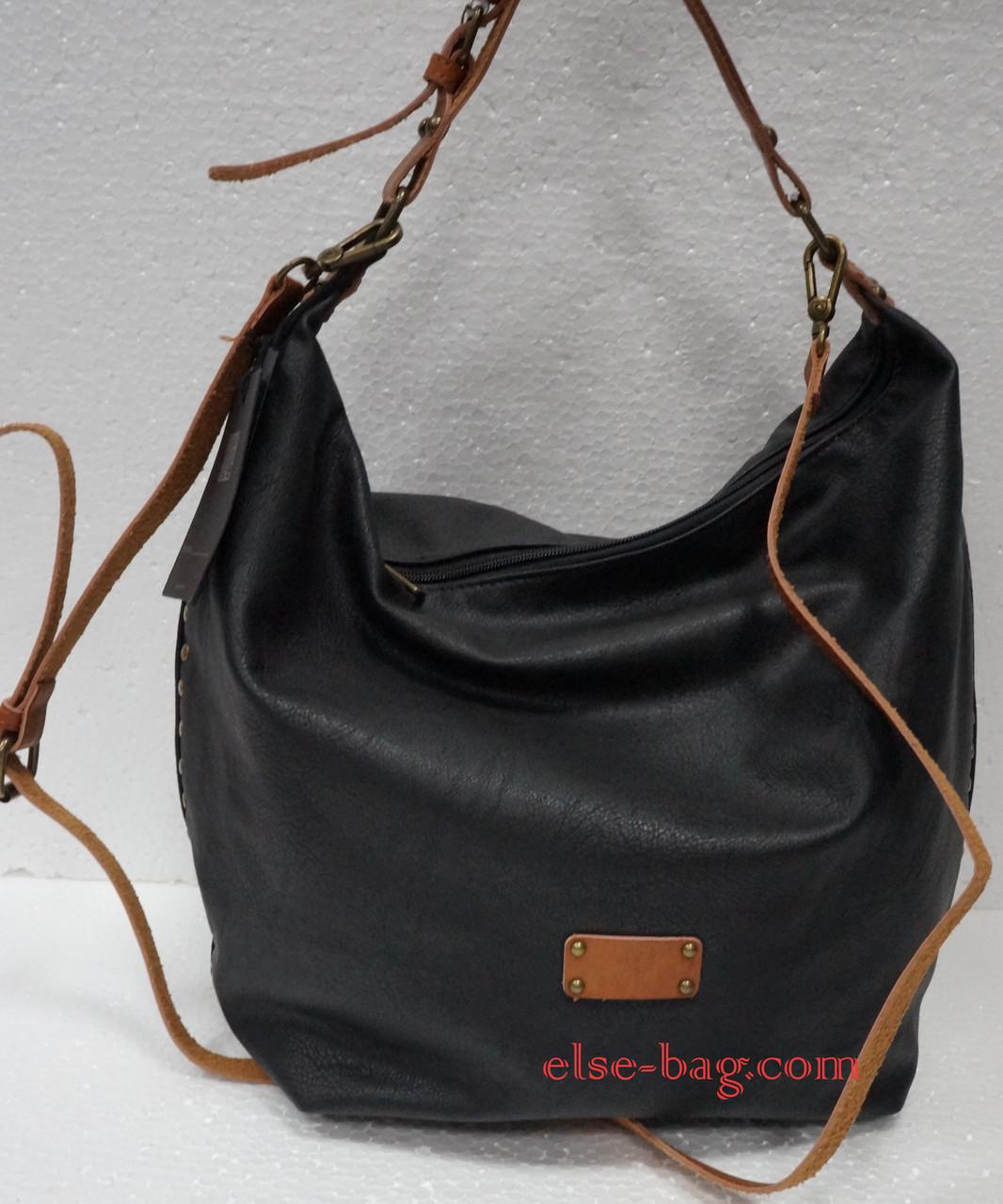748b24bedd8f Мягкая черная сумка с кожаной ручкой -