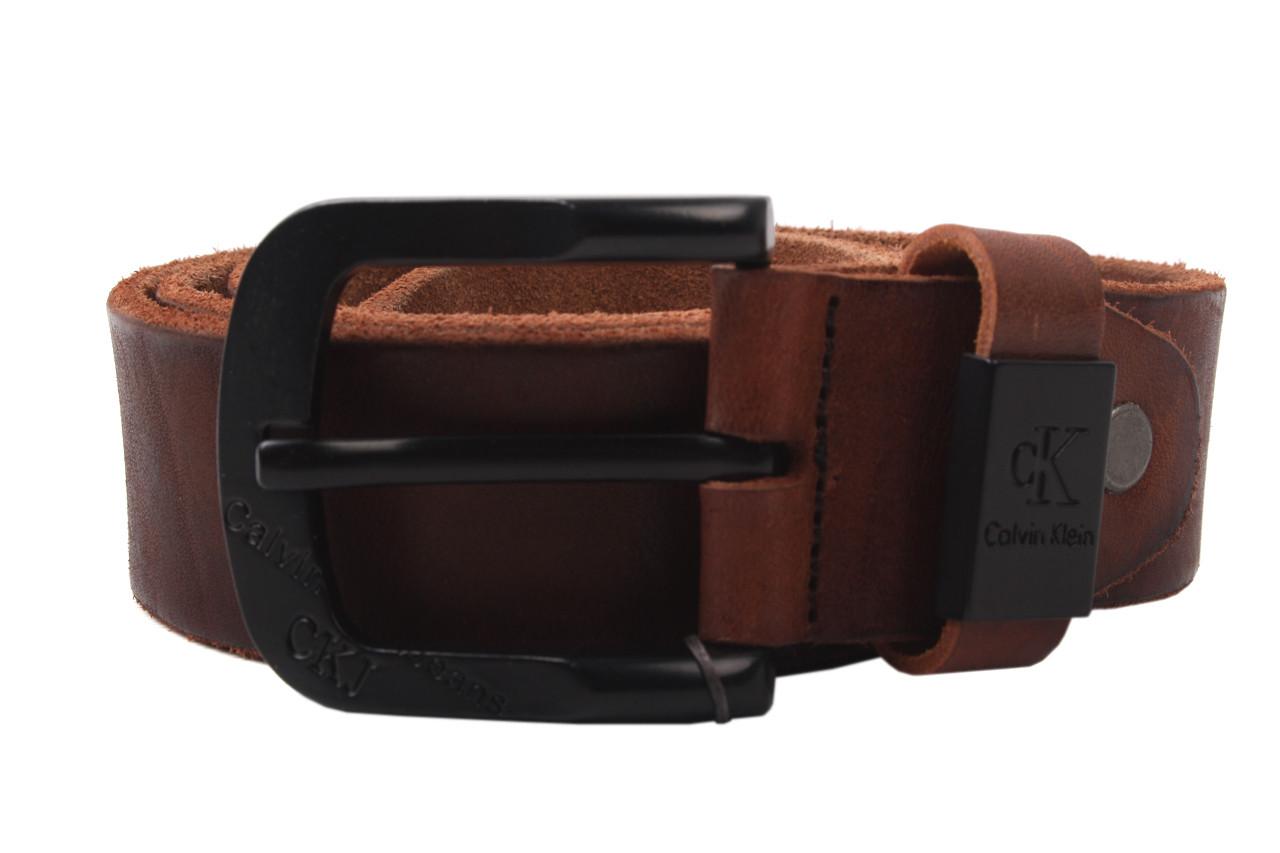 Ремень мужской Calvin Klein джинсовый, цвет коричневый, натуральная кожа (длина 115 см, ширина 3,5 см)