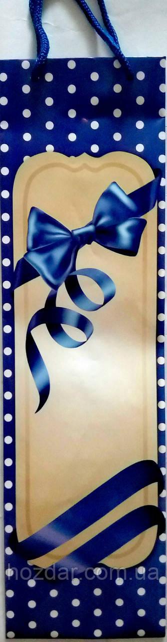Пакет подарунковий паперовий пляшка 12х36х9 (25-046)